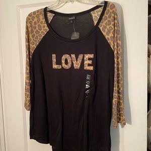 Torrid love three-quarter sleeve shirt size 0 NWT